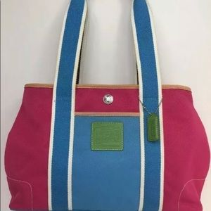 COACH Hamptons Canvas Leather Trim Colorful Tote